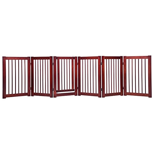 Giantex 30'' 6 Panel Configurable Folding Free Standing Panel Wood Pet Dog Safety Fence w/ Gate