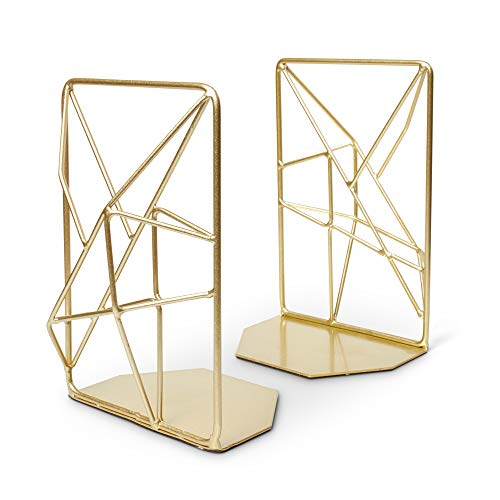 OPAL TREE Premium Geometric Bookends with Matte Finish - Decorative Iron Book Stoppers - Industrial/Home/Office Creative Shelf Decor - Rustic Decorations - Creative Bookends - Retro Style (Gold)