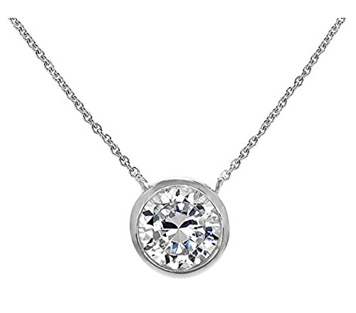 Necklace Bezel Solitaire - .925 Sterling Silver Pendant Necklace with Anti Tarnish Mirror Finish Round Bezel 8mm CZ 16