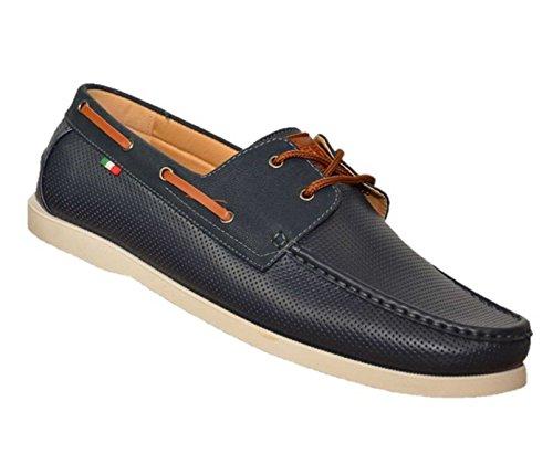 Duke Herren D555 Big Hoch king-Size CADE Perforiert Klassisch Boot Schuhe Marine