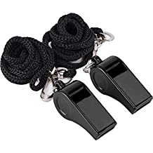 Mudder 2 Pack Plastic Sports Coach Whistles with Lanyard (Black)