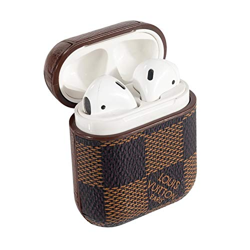 AirPods PU Leather Designer Case, Protective Shockproof Case Cover with Carabiner Keychain Compatible with Apple AirPods Charging Case for Men and Women (Checker Brown)
