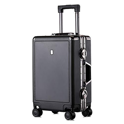 ビジネスアルミフレームトロリーケース/スーツケース/TSA税関パスワードロック/ユニバーサルホイール学生スーツケース B07THBLCLY Black 20inches,34*22*55cm