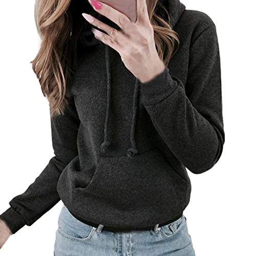 Connia Hot!Women's Thick Hoodie Sweatshirt Coat, Fall Winter Fashion Casual Necessary Warm Pullover Top (XL, Black) from Connia