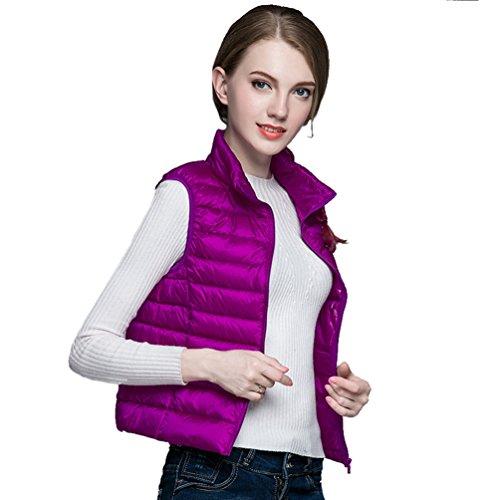 Ultra De Sin Púrpura Pluma Coat Mujer Zkoo Mangas Windproof light Abajo Chaqueta Chaleco Uw1xIEqp