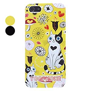 Adorable Cats in Puzzling World Pattern Hard Case for iPhone 5/5S --- COLOR:Yellow