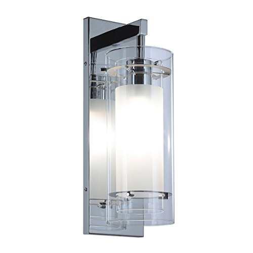 (Wall Sconce 1 Light Wall Mount Light with Clear and Frost Glass Contemporary Chrome Bathroom Vanity Wall Light XiNBEi-Lighting XB-W1159-CH)