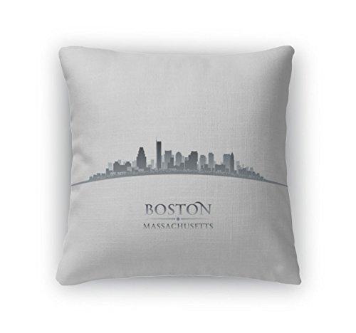 Gear New Throw Pillow Accent Decor, Boston Massachusetts City Skyline Silhouette White, 20