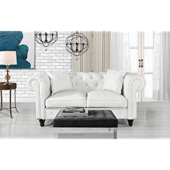 Divano Roma Furniture Classic Living Room Bonded Leather Scroll Arm Chesterfield Loveseat (White)