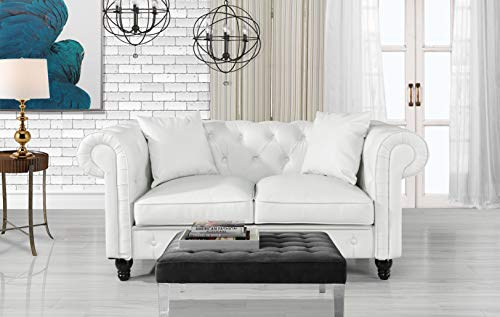 Divano Roma Furniture Classic Living Room Bonded Leather Scroll Arm Chesterfield Loveseat (White) ()