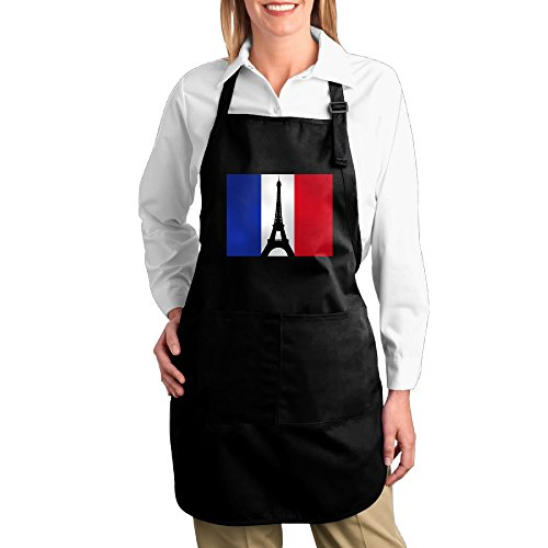 Dogquxio French Flag With The Eiffel Tower Kitchen Helper Professional Bib Apron With 2 Pockets For Women Men Adults Black by Dogquxio