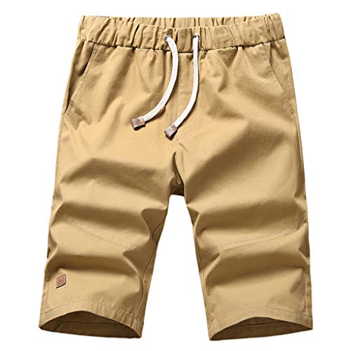 JJLIKER Men's Solid Casual Capri Cargo Pants Classic Fit Drawstring Summer Beach Shorts with Elastic Waist and Pockets Khaki