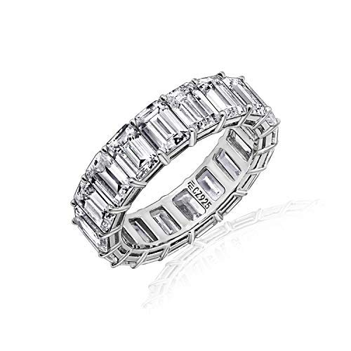 Diamonbliss Sterling or 14K Gold Clad Cubic Zicornia Emerald Cut Band Ring (Rhodium-Plated-Silver, 6)