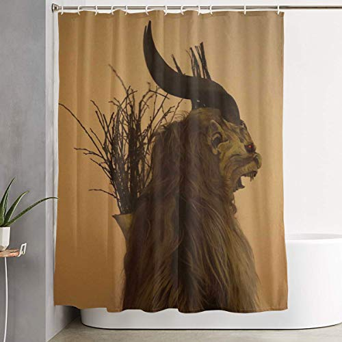 Folklore Christmas Changing Mask of Krampus Bathroom Shower Curtain Decorative Toilet Celebrate Ornament Picks Set Prints Themed All Supplies Accessories Sale Indoor Home Room Restroom Ornament
