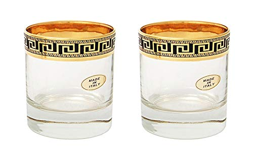 Set of 2 ArtDecor Greek Key, 11 Oz Old-Fashioned Liquor, DOF Brandy Glasses ()