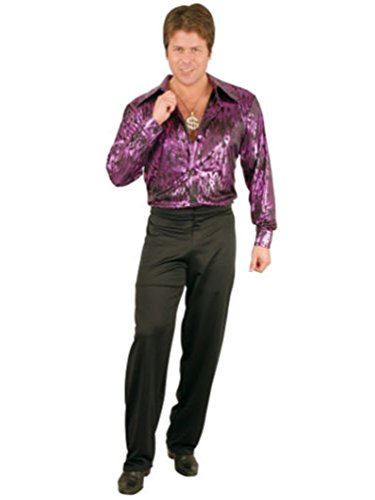 Charades Men's Plus Size Flame Disco Shirt, purple 1X ()