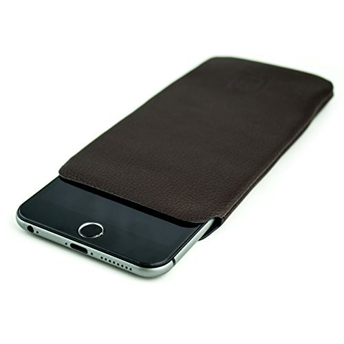 new product c03a8 2f688 Synthetic Leather Sleeve for iPhone 6 Plus by Dockem - Ultra Slim  Professional Executive Faux Leather Pouch Case (Dark Brown)