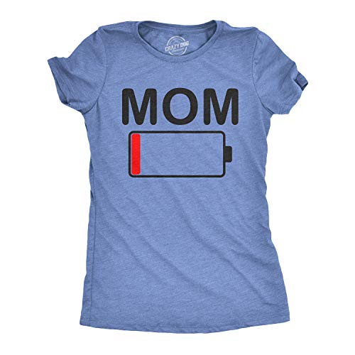 Womens Mom Battery Low Funny Empty Tired Parenting Mother T Shirt (Heather Light Blue) - L