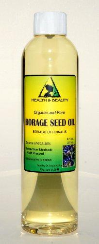 Borage Seed Oil Organic Carrier Virgin GLA-20% Cold Pressed Pure 8 oz