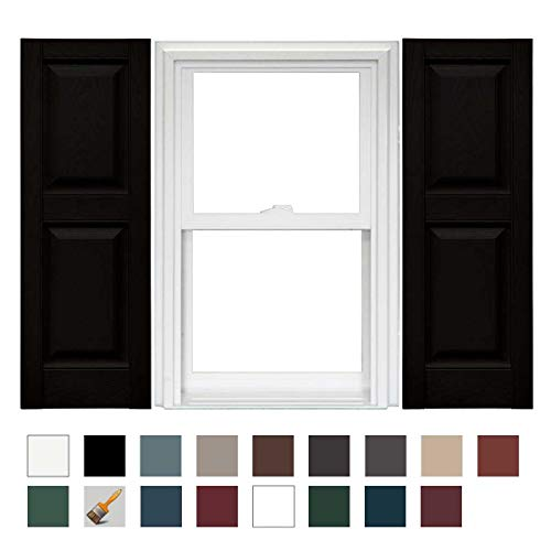 Mid America Williamsburg Raised Panel Vinyl Standard Shutter - 1 Pair 14.75 x 59 002 ()