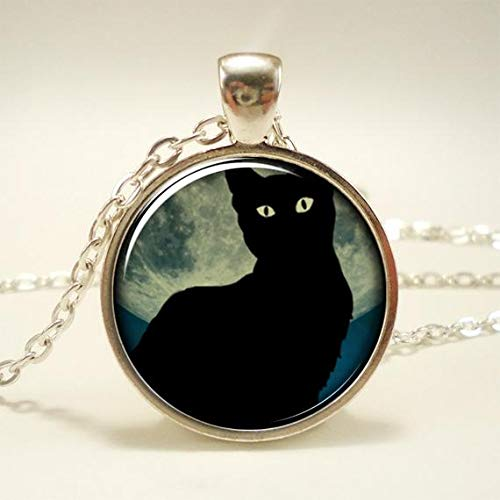 Black Cat Necklace with Full Moon, Midnight Blue ()