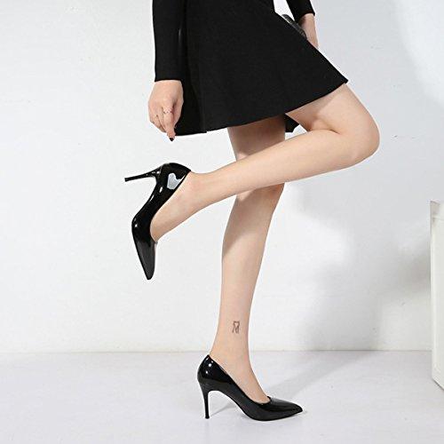 Frauen Schöne Schwarze Arbeit Büro Sexy Stiletto High Heels Hochzeit Pumps Damen Schwarz Spitz Schuhe CommutersShoes