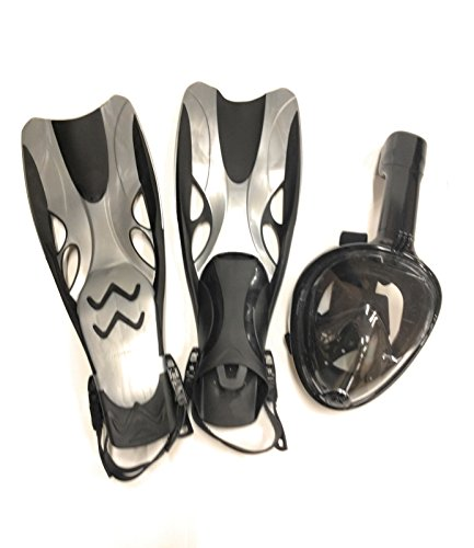 PlaySAFE 180 GoPro Compatible Snorkel Mask/Full Snorkeling Set with Adjustable Fins