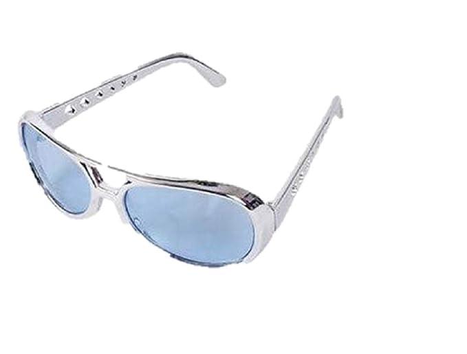 Amazon.com: Azul Lens Plata Frame Elvis Aviator – Gafas Rock ...