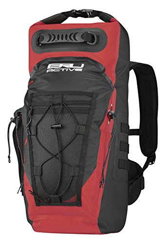 BRU Active Premium Dry Bag PVC Waterproof Backpack - 35L Sizes Zippers, Drawstring, Heavy Duty Adjustable Straps Kayaking, Boating, Hiking, Water Sports, Fishing (Red, 35L)