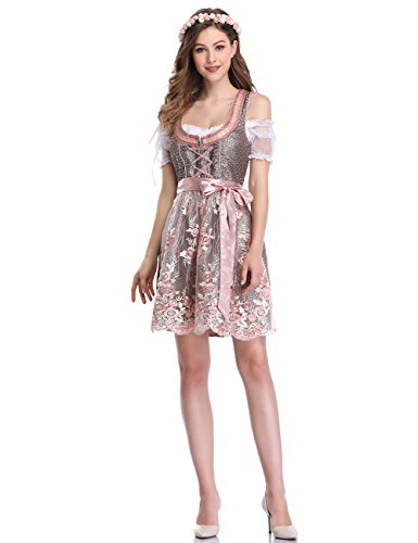 GloryStar Women's German Dirndl Dress 3 Pieces Traditional Bavarian Oktoberfest Costumes for Halloween Carnival (S, Lace Pink-Two)