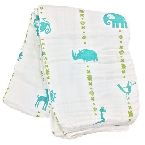 Bambino Land Double Layer Muslin Swaddling Blanket Jungle Animals, Teal and Lime, Made from Organic Cotton by