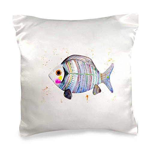 Watercolor Fish Decorative Silk Polyester Pillow Cover Cushion Case 24X24 Inch -
