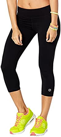Zumba Wide Waistband Dance Fitness Compression Fit Black Capri Workout Leggings for Women