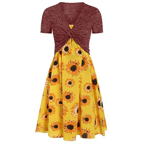 Lemoning❀ Women's Summer Fresh Sunflower Print Dress Sling Set Cardigan Two-Piece Set ()