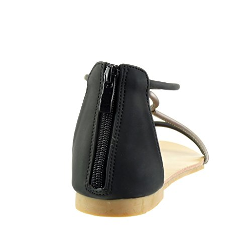 Angkorly - Scarpe da Moda sandali cinturino donna tanga Tacco a blocco 1 CM - Nero