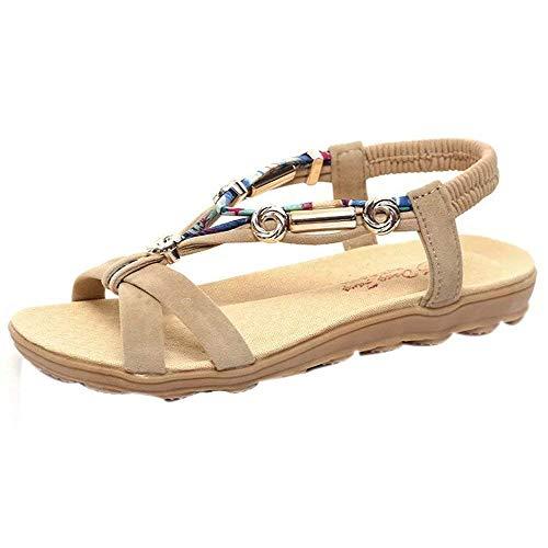 Beige Con Zapatos Hebilla De toe Bohemia Romanas Dulce Sandalias Bohe Plano Mujer Cuentas Tomwell Verano Casual Peep Rhinestone Tw1B8