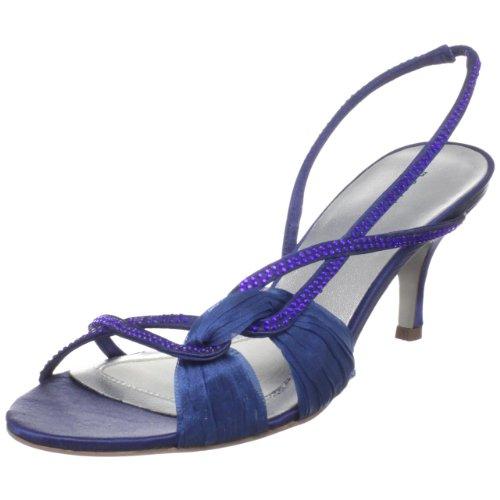 Martinez Valero Women's Curran Slingback Sandal,Blue Satin,5.5 M (Ornamented Slingback)