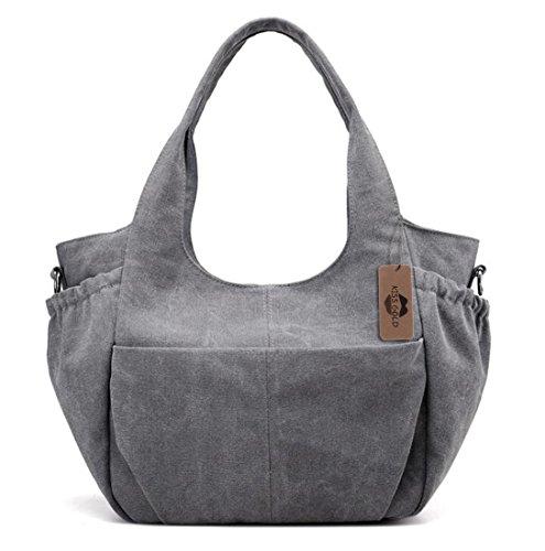 Canvas Tote Sport (KISS GOLD(TM) Leisure Canvas Tote Shoulder HandBag for Women Crossbody Bag for Women, Grey)