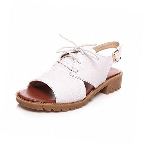 De Abierta Vaca Hebilla Mini Sandalia Puntera Tacón Mujeres Agoolar Blanco Sólido Cuero UaOEEq