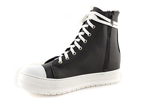 744374a886 Sneakers Uomo Alte Pelle Scarpe Stringate Suola Alta Nere Made in ...