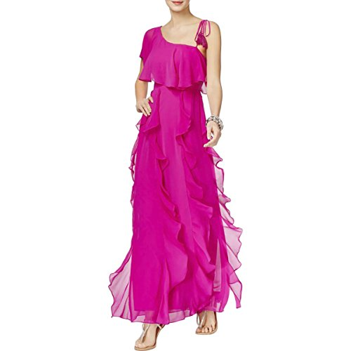 INC Womens Crepe Cascade Ruffle Semi-Formal Dress Pink L