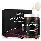 Coffee Body Scrub 100% Natural Organic Dead Sea Salt Exfoliating Bouns Loofah Sponge pad Anti Cellulite and Stretch Mark Treatment Dead Skin Remover(CA-COFFEESCRUB)