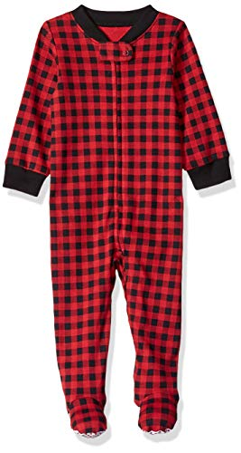 Amazon Essentials Baby Zip-Front Footed Sleep and Play, Buffalo Check, Preemie