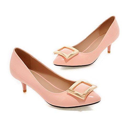 AgooLar Damen Spitz Zehe Mittler Absatz Lackleder Eingelegt Ziehen auf Pumps Schuhe, Pink, 42