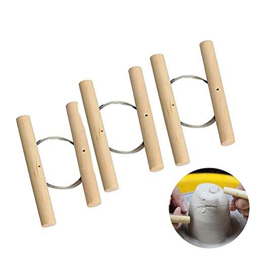 (Ioffersuper 3 Pcs Wire Clay Cutter Cheese Plasticine Dough Cutting Pottery Tools )
