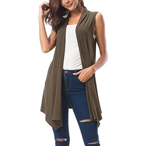 (TANLANG Womens Elegant Sleeveless Draped Cardigan Tank Vest with Asymmetrical Flowing Hem Leisure Tops Tunic Shirt Blouse Dark Gray)