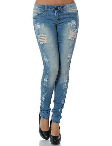 Damen Jeans Hose Skinny (Röhre) No 13834, Farbe:Blau;Größe:40 / L