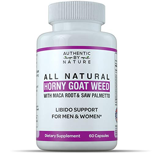Horny Goat Weed for Men and Women. All Natural Powder Extract Capsule Supplement with Maca, Saw Palmetto, Ginseng. Boost, Energy, Performance, Stamina. Non GMO, Gluten Free (60 Capsules) ()