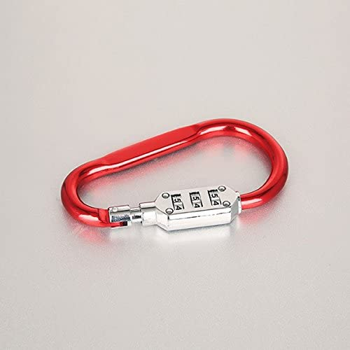 Beautyrain Aluminum Lock Carabiners Hook Buckle Clip Keychain Key Holder with 3 Digits Combination Lock for Camping Hiking Rope Climbing Random Color