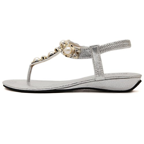 Beach Women's D2C Thong Beauty Sandals Sliver Stylish Beads Bohemia Flat 5HqYFwaq